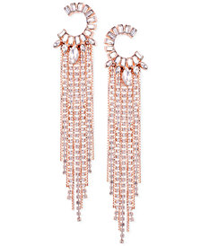 GUESS Rose Gold-Tone Crystal C-Hoop & Fringe Drop Earrings