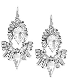 GUESS Silver-Tone Crystal Drop Earrings