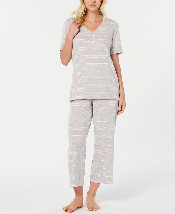 Charter Club Short Sleeve Top and Cropped Pant Cotton Pajama Set, Created for Macy's