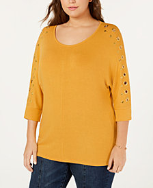Belldini Plus Size Grommet-Trim 3/4-Sleeve Top