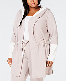 Calvin Klein Performance Plus Size Velour-Trim Hoodie