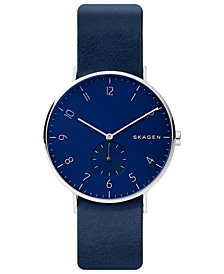 Skagen Men's Aaren Blue Leather Strap Watch 40mm