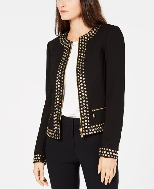 64c1d2f303a6 Michael Kors Stud-Embellished Jacket   Reviews - Jackets   Blazers ...