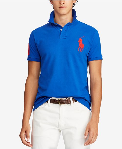 98aafb4117e68 ... Polo Ralph Lauren Men's Big Pony Custom Slim Fit Mesh Polo, Created for  Macy's ...