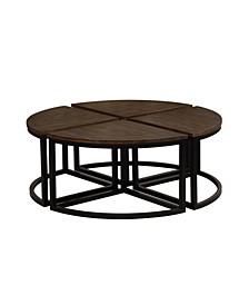 Arcadia Acacia Wood Set Of 4 Round Wedge Tables
