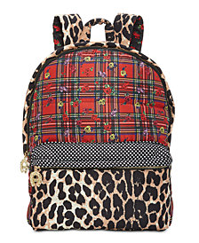 Betsey Johnson Mixed-Print Backpack