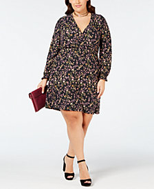 Planet Gold Plus Size Smocked Faux-Wrap Dress