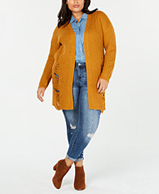 Planet Gold Plus Size Distressed Cardigan Sweater