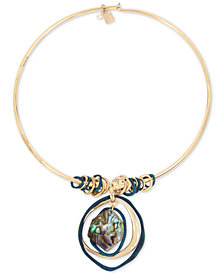 "Robert Lee Morris Soho Gold-Tone Abalone-Look Wire 17"" Pendant Necklace"