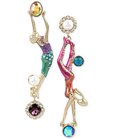 Betsey Johnson Gold-Tone Crystal & Imitation Pearl Trapeze Mismatch Earrings