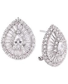 Cubic Zirconia Baguette Teardrop Stud Earrings in Sterling Silver