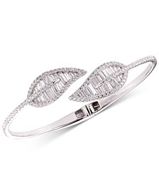 Cubic Zirconia Baguette Leaf Bypass Bangle Bracelet in Sterling Silver