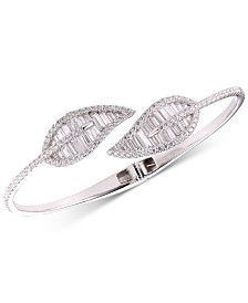 Tiara Cubic Zirconia Baguette Leaf Bypass Bangle Bracelet in Sterling Silver