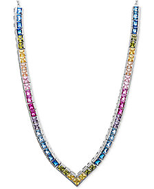 "Giani Bernini Cubic Zirconia V 18"" Statement Necklace in Sterling Silver, Created for Macy's"