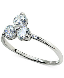 Giani Bernini Cubic Zirconia Triple Stone Ring in Sterling Silver, Created for Macy's