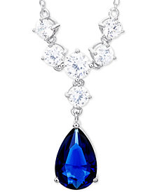 "Giani Bernini Simulated Sapphire Cubic Zirconia 18"" Statement Necklace in Sterling Silver, Created for Macy's"