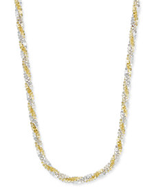 "Giani Bernini Two-Tone Twisted Link Chain Necklace in Sterling Silver & 18k Gold-Plate, 18"" + 2"" extender, Created for Macy's"