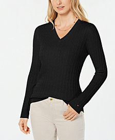 Tommy Hilfiger Cotton Cable-Knit Sweater, Created for Macy's
