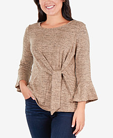 NY Collection Petite Side-Tie Bell-Sleeve Top
