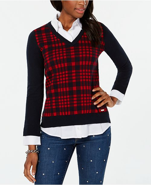 cfdf27ea ... Tommy Hilfiger Plaid Layered-Look Sweater, Created for Macy's ...