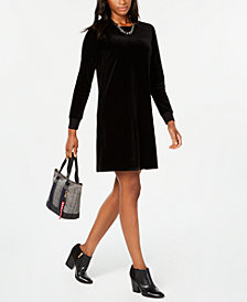 Tommy Hilfiger Long Sleeve Velvet Dress, Created for Macy's