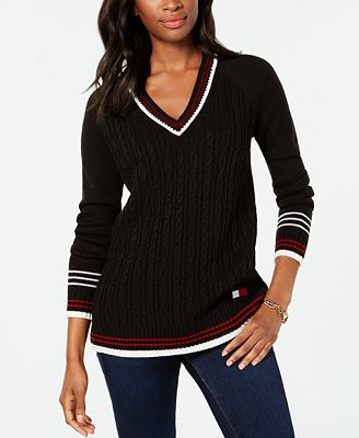 Tommy Hilfiger V Neck Cable Knit Sweater Created For Macys