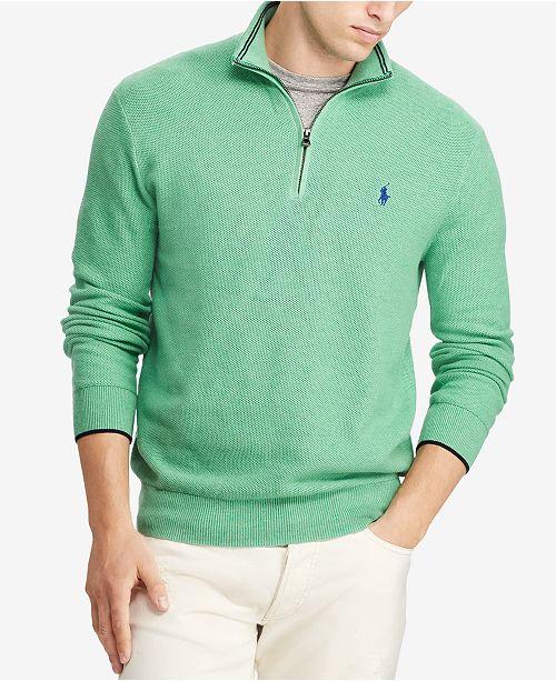 5471b59c86f1 Polo Ralph Lauren Mesh Half-Zip Sweater   Reviews - Sweaters - Men ...