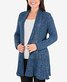 NY Collection Petite Marled Open-Front Cardigan