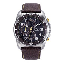 Men's Stainless Steel Chronograph Watch, Brown Dial, Leather Strap