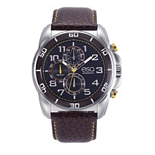 Men's ESQ0211 Stainless Steel Chronograph Watch, Brown Dial, Leather Strap
