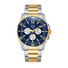 Men's Two-Tone Multi-Function Stainless Steel Bracelet Watch, Blue Dial