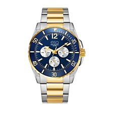 Men's ESQ0241 Two-Tone Multi-Function Stainless Steel Bracelet Watch, Blue Dial