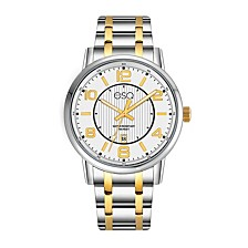 Men's Two-Tone IP Stainless Steel Bracelet Watch with White Dial