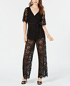 Trixxi Juniors' Open-Back Lace Jumpsuit