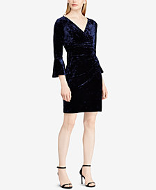 Lauren Ralph Lauren Petite Bell-Sleeve Velvet Dress
