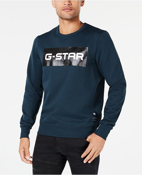 be57ad3d595 G-Star Raw Men's Swando Block Logo Crew-Neck Fleece & Reviews ...