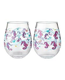 Enesco Lolita Seahorse 2-Pc. Stemless Wine Glass Set