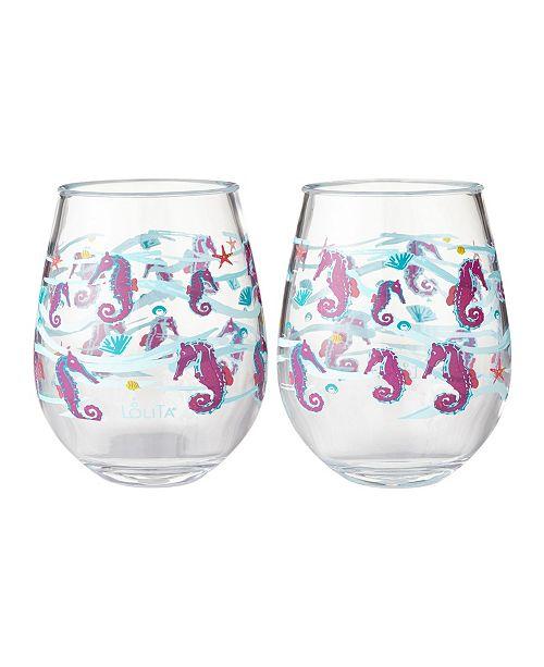 491e561758f Enesco Lolita Seahorse 2-Pc. Stemless Wine Glass Set & Reviews ...