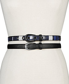 Steve Madden Plaid 2-for-1 Skinny Belts