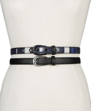 Plaid 2-For-1 Skinny Belts in Black Plaid/Silver