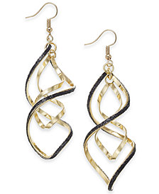 "Thalia Sodi Extra Large Gold-Tone Black Glitter Twist Hoop Earrings, 2.5"", Created for Macy's"