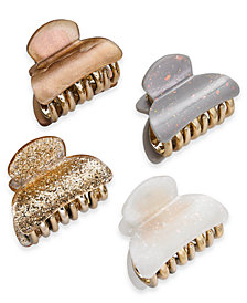I.N.C. Gold-Tone Neutral Glitter 4-Pc. Hair Clip Set, Created for Macy's