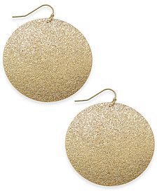 "I.N.C. Large Gold-Tone Glitter Flat Hoop Earrings, 2"", Created for Macy's"
