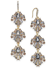 "I.N.C. Extra Large Gold-Tone Neutral Crystal Linear Drop Earrings, 2.75"", Created for Macy's"