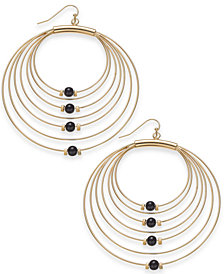"Thalia Sodi Large Gold-Tone Bead Multi-Row Drop Hoop Earrings, 2.4"", Created for Macy's"