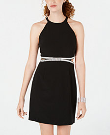 Rare Editions Juniors' Embellished Cutout Bodycon Dress