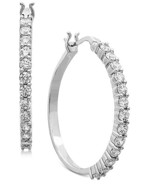 Lab Grown Diamond Hoop Earrings 1 Ct T W In 14k White Gold