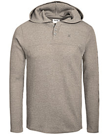 Hurley Men's Astoria Thermal-Knit Logo Graphic Hooded Henley, Created for Macy's