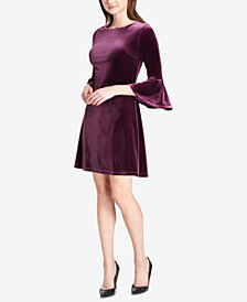 Tommy Hilfiger Velvet Bell-Sleeve Dress