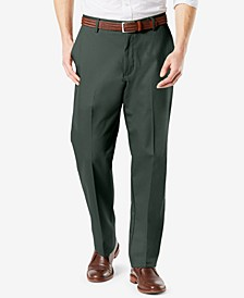 Men's Signature Lux Cotton Classic Fit Creased Stretch Khaki Pants